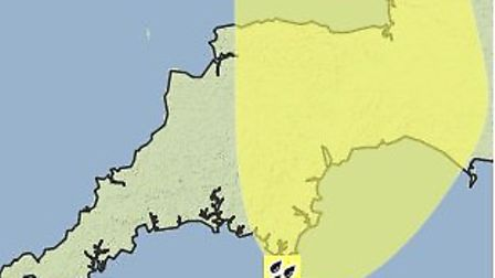 The yellow weather warning for rain on Saturday.