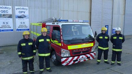 Appledore fire fighters Gary Evans, crew manager Richard Stokes, fire fighter Wayne Newcombe and wat