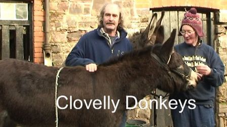 Bart and Sue Kelly of Clovelly Donkeys in a scene from the film.