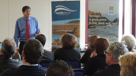 LEP chief executive Chris Garcia spoke to a packed room at the Civic Centre on Wednesday