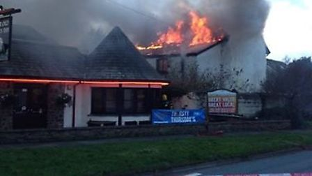 Four fire crews were called to the blaze, which took place at the building next to the Old Barn Inn