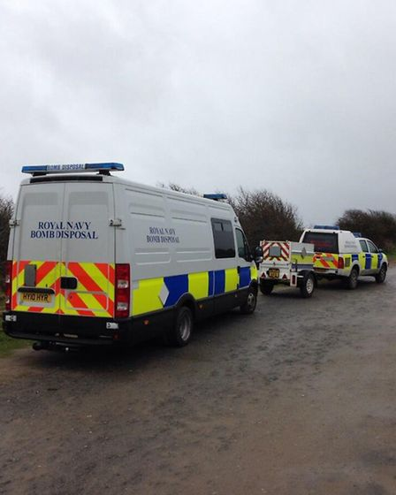The bomb disposal team at Crow Point this morning (Mon).