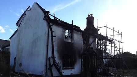 The scene of the fire in Bickington the morning after.
