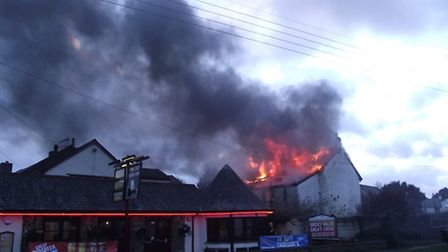 The fire in Bickington on Saturday evening.