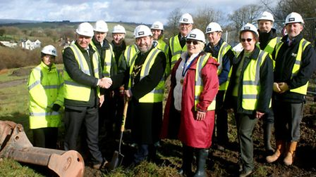 South Molton mayor Stephen White and fellow councillors cut the turf to mark the start of work on th