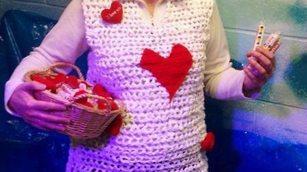 Janet Bonnick's latest creation - a Valentine's Day inspired dress knitted using plastic bags.