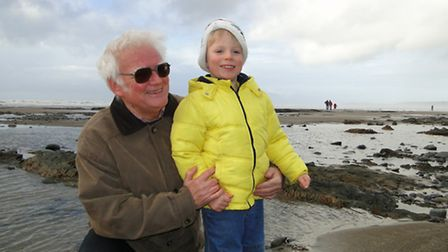 Cllr Roger Tisdale and son Robbie survey the damage to Westward Ho! beach.