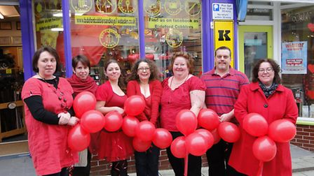 Bideford traders will be painting the town red. From left: Katie Russell from Green Goose; Lisa Slad