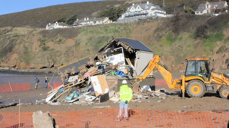 The beach hut on Saunton is demolished. Pic: Jane Taylor at Ocean Cottages