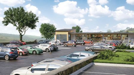 An artist's impression of how the proposed new Waitrose store at Torrington could look.