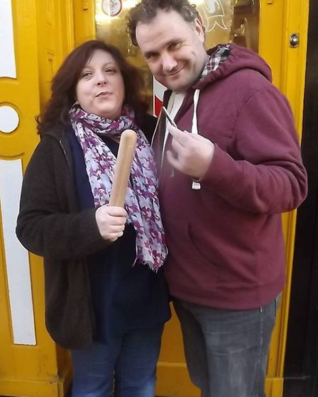 The Barber and the Baker! Neil Rudd and Debbie Hadley in preparation for their villainous roles in t