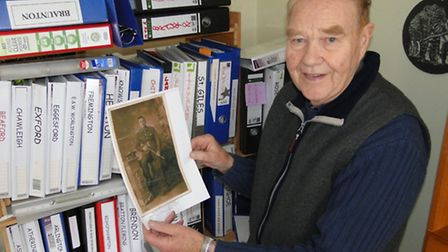 Brian Barrow with just some of the many stories of North Devon First World War casualties he has une