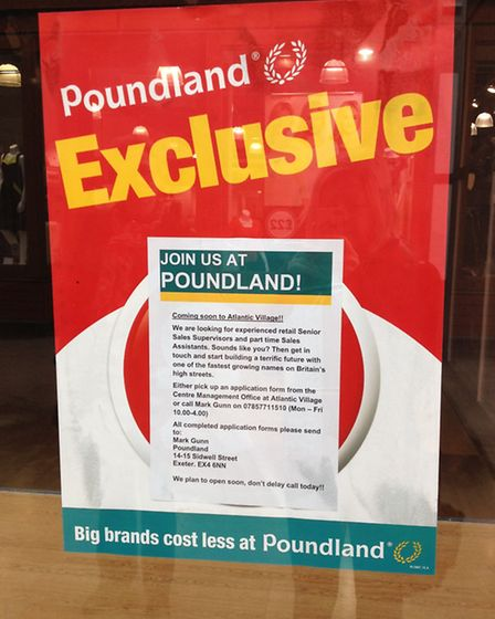 The Poundland posters in the unit of the former Pilot store in Atlantic Village.