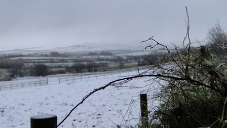 A snowy scene this morning (Thursday) looking across to Exmoor from Berry Down near Combe Martin.