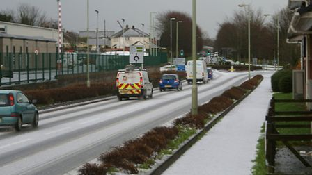 A freak hail storm covered roads in Barnstaple, including Eastern Avenue, within minutes this aftern