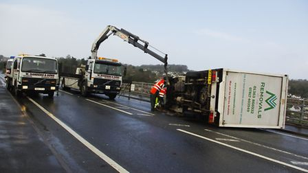 Severe gales have blown a light goods vehicle onto a car on the Torridge Bridge in Bideford. Picture