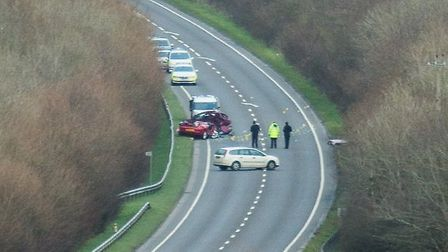 Emergency services survey the scene of the crash on the A39 near Bideford. Pic by Andy Casey