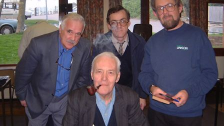 Tony Benn, with trademark pipe, is pictured during a 2006 visit to speak at Pilton Community College