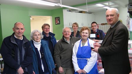 North Devon MP Nick Harvey meets with Bishops Tawton residents at DI Elliott butchers. Pictured are
