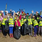 Children from Appledore Primary School take part in the Burrows spring clean.