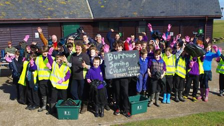 Kingsley School pupils take part in the Burrows spring clean.