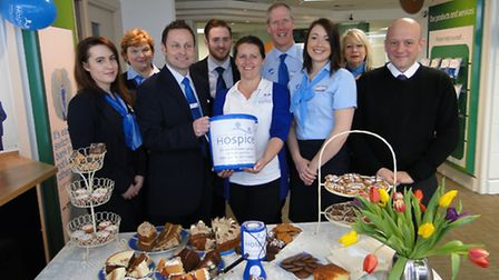 Barnstaple TSB branch manager Mark Sargent and Rebecca Worth from North Devon Hospice are joined by