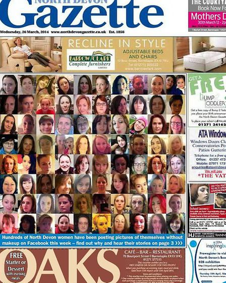 North Devon women stood together on our front cover baring their makeup-less faces.
