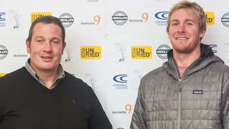 Personal trainer Wayne Large with Braunton's big wave surfer Andrew Cotton.