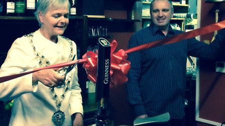 The Mayor, Cllr Lynda Courtnadge, and manager Paul White cut the ribbon to mark the official reopeni