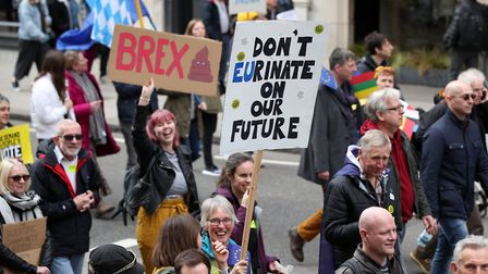 Anti-Brexit campaigners taking part in a People's Vote March in London. Picture: PA/Yui Mok
