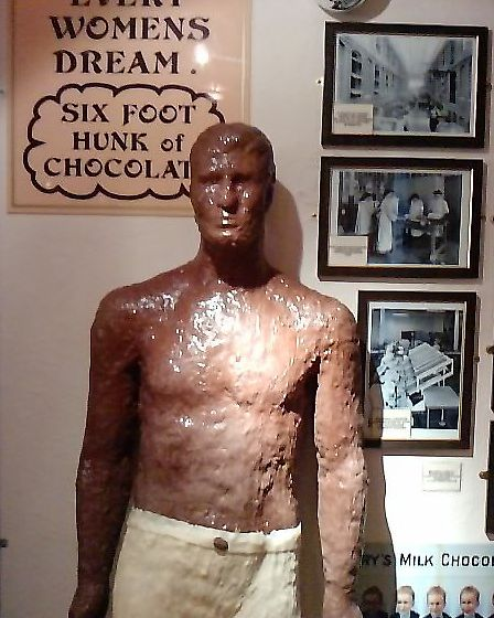 The well known six-foot 'chocolate man' who stands guard at Walkers Chocolate Emporium!