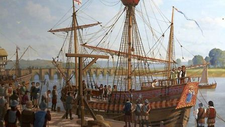 The 'Prudence' Prize at Barnstaple Quay, 1590, painted by Mark Myers in 1977 and gifted to the North