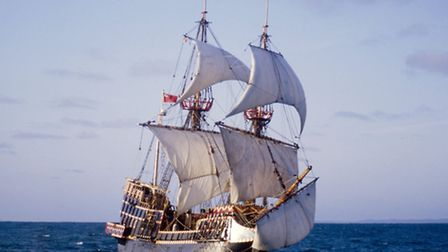 The Golden Hinde II, built in Appledore in the early 1970s, is pictured sailing off the east coast o