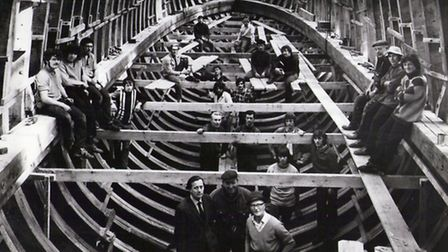 The Golden Hinde II pictured under construction at J Hinks & Son Shipbuilders in Appledore, in 1971.