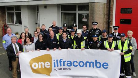 Representatives of all the agencies involved in setting up the new Ilfracombe Town Team gather at Mo