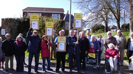 Geoffrey Cox MP joins protesters outside Fairlea Care Home in Northam.