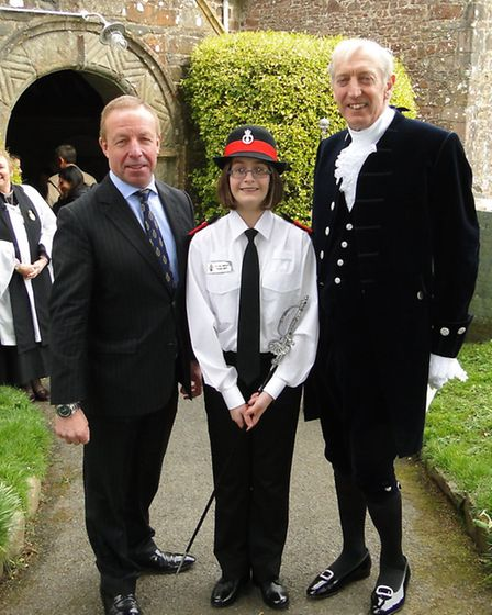 Previous High Sheriff John Lee OBE and new High Sheriff John Rous with his Cadet for the year, Katie