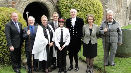 Pictured outside the church after the ceremony are former High Sheriff John Lee OBE, churchwarden Ch