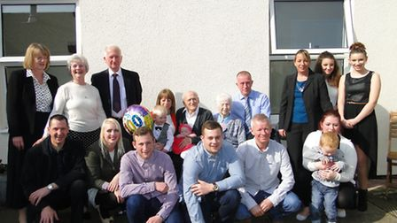 Charlie Tucker, pictured with his children, grand children and great grandchildren at Oaklands.