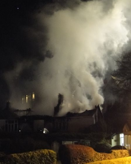 The bungalow fire at Chambercombe Road near hele, Ilfracombe, on Wednesday evening.