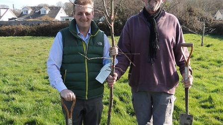 Councillors Frank Biederman and Chris Turner ready for a busy day of tree planting