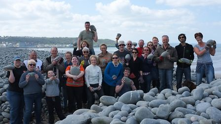 The group of volunteers at Westward Ho! this morning. Pic: Nick Woodrow.