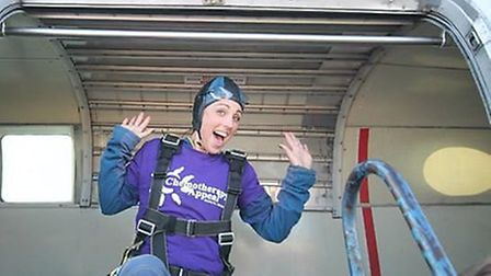 Debbie Hadley prepares to leap out of a perfectly good aeroplane for the the Chemo Appeal.