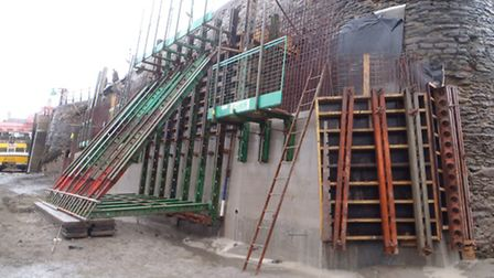 The inner concrete support wall being constructed on the Old Quay Head in Ilfracombe. This will be f