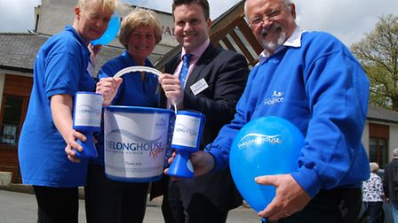 Great start! (From left) The hospice's Jenny Richardson, Ali Hunt, chief executive Stephen Roberts,