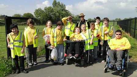 Pathfield School pupils, pictured with Barnstaple Town Councillor Arthur Windsor, environment commit
