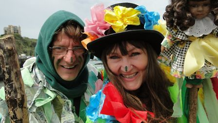 John Hextall and Lisa Sture get into the Ilfracombe May spirit.