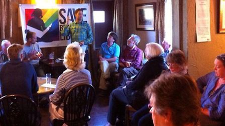 Ben Hewitt addresses the Save Braunton Library meeting at the Black Horse on Wednesday.