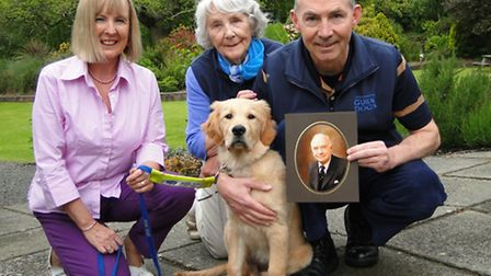 Guide Dog puppy Jaypee pictured with Betty and Philip Partridge plus puppy walker Helen Wells.
