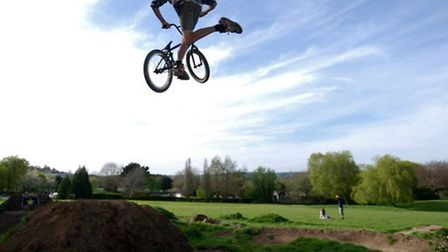 On the BMX jumps at Rock Park.